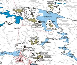 Map identifying old uranium mines and tailing management areas in the Serpent   River Watershed Basin